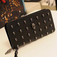 New 2014 Women Wallets Fashion Women Bag Handbags Coin Purse Punk Skull Card Package Zipper Plaid Bag Key Holders TB1004
