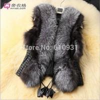 2014 Women Fashion Brand Nice Short Design Sleeveless Female Fox Fur Vest Leather Vest Outerwear Plus Size Fur Vest Women Coat