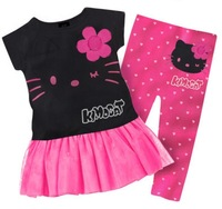 1 Set Retail 2013 New 100% cotton kids clothing set, T-shirt+ dot pant, hello kitty children set, 2 colors available