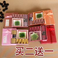 Brand new Natural incense cone 8PCS and incense sticks 12PCS combination 1PC incense plate set santalwood gift box Aromatherapy