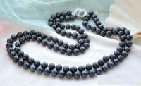 """Hot sales 9-10mm black DOUBLE STRANDS PEARL NECKLACE 18-19""""  fashion jewelry"""