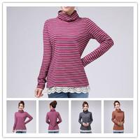 2014 Autumn Winter New XS/S/M/L/XL 3 Colors Women Plus Size 100% Cotton Turtleneck Long Sleeve Striped Lace Trimmed Hem T-shirts