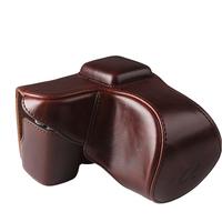 Leather Case Pouch bag  wth Neck Strap for SONY NEX5 NEX-5C NEX-5N 18-55mm lens Coffee