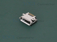 10pcs 5pin Female Micro USB Connector, SMD 2 Fixed feet Widely used in tablet and Cellphone