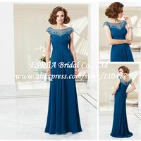 New Fashion Bead Sheer Lace Top Blue Chiffon Petite Mother of the Bride Dresses Long Elegant XG535