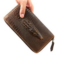 New Vintage Fashion Crocodile Casual Genuine Leather Cowhide Men Long Zipper Wallet Wallets Purse Clutch Bag For Men 526