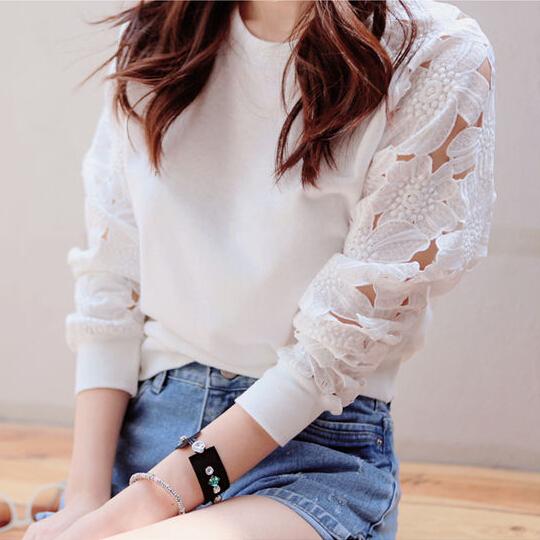 2014 New autumn women hoodie lace Blouse hollow cutout sleeves casual sweatshirt long-sleeve cotton T-shirt white top XXL LS508(China (Mainland))