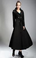 Autumn winter woman's fashion slim black maxi coat ankle length trench coat outwear plus size S-XXL