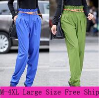 2014 New Korean Plus Large M-4XL Size Women Neon Color Harem Pants Loose Casual OL Elastic Waist Lady Pant Slim Chiffon Trousers