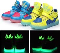 Best Sale 2014 Fashion Kids Basketball Running Shoe Children Boots Super Luminous Boys Girls Shoes Unisex Sneakers free shipping