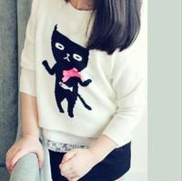 2014 fashion baby autumn and winter children sweater girls cartoon cat pullovers cardigan children clothing white & green