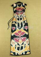 2014 Fashion new women's vintage sexy thigh splits sleeveless dress maxi dress