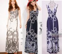 Qiyun Women lady sexy fashion V neck sleeveless maxi Boho Bohemian long stretchy dress Robe Plage Strandkleid Kleid Vestido