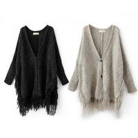 2014 New Autumn Winter Women's Blusa Cardigan Batwing Sleeve V Neck Crochet Cardigans Shawl Sweater Lady's Coat Tassel Fringe