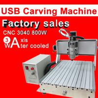 2014 New USB  port CNC 3040 engraving machine 800W Ball Screw CNC Carving Machine 3040 water cool Cutting Machine Factory Sales