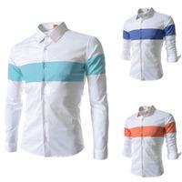 Full Long Sleeve Patchwork Stitching Splicing Royalblue Sky Blue Orange Casual Men Shirts S38-514 Brand Male Clothing M L XL XXL