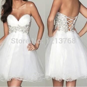 Сексуальная мода кантри хиппи бальное платье белый короткое свадебное платье 2015 Большой размер органзы свадебное платье бесплатная доставка