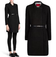 Autumn and winter women trench coat long sleeve medium-long slim thick windbreaker brand ladies knit leisure warm outerwear coat