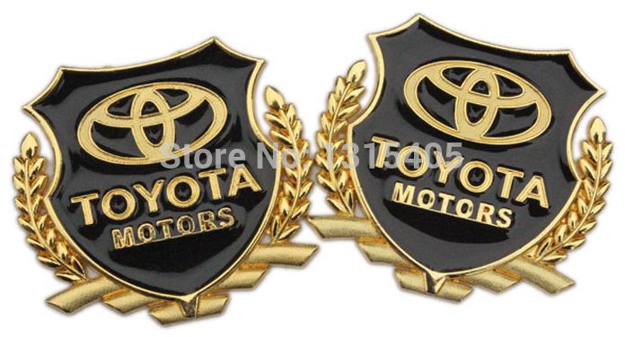 Free shipping 2pcs/lot gold metal toyota car stickers emblem badge