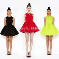 European style women romantic umbrella dress desigual/candy colored summer neon Bright mini dress/vintage empire waist dress/WTL