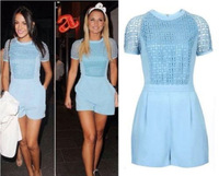 Chiffon Jumpsuit 2014 New Summer Lace Bodycon Rompers Short Sleeve Shorts Hollow Out Sexy Club Playsuit For Ladies Overalls