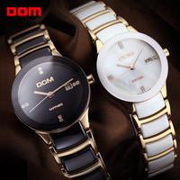 DOM Luxury Ladies women Wrist Watch Japan Quartz Hours Best Fashion Ceramic CZ gift Shell Elegant Dial Lovers Couple T-529