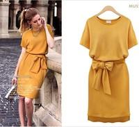 UK Brand New 2014 Women Large Plus Size L,XL,XXL,XXXL XXXXL 5XL Cotton Yellow O neck Bandage Casual Dress Knee Length Vestido
