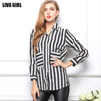 European Fashion Style Vintage striped Print Long Sleeve Blouses Shirts For Women Spring/Autumn 2014 Hot Sale Chiffon Tops