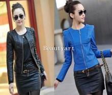 2014 spring women's leather clothing female short design slim o-neck leather jacket coat (China (Mainland))
