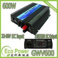 Free shipping  600W mppt Grid Tie Solar  Inverter pure sine wave 22-60V DC input,120/230V AC output