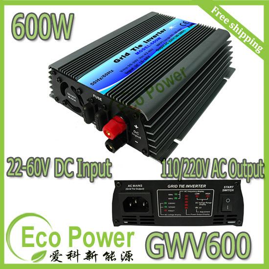 Free shipping 600W mppt Grid Tie Solar Inverter pure sine wave 22-60V DC input,120/230V AC output(China (Mainland))