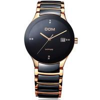 DOM Luxury Men Homme Wrist Watch Quartz Hours Best Fashion Ceramic CZ gift Shell Dial Lovers Couple T-729