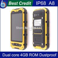"Free shipping Alps A8 IP68 MTK6572 4.0"" Android Dustproof smartphone Shockproof Waterproof Dual core 3G GPS Russian Spanish/Eva"