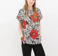 ST2130 New Fashion Ladies' Elegant floral striped print gray T shirt O neck short sleeve shirts casual slim brand designer tops
