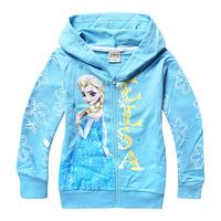 6pcs New autumn Elsa Shirt Jacket Cost 2014 Girl HOody Shirt Children FROZEN Autumn Kids Jacket 3 lots can free to US/AU/EU/RO