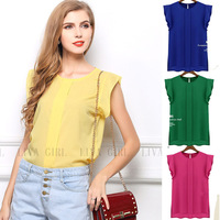 New 2014 Summer Casual Women Crew Neck Solid t-shirt Fashion Vintage Chiffon T Shirt OL Elegant Top Tees For Free Shipping HX211