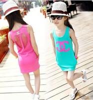 New 2014 summer girl dress baby girls vest dress cotton girl clothing hollow pocket bag hip baby casual dress