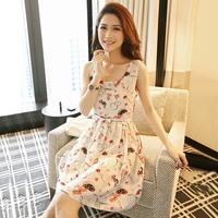 2014 women's chiffon sleeveless suspender skirt slim elegant small fresh one-piece dress