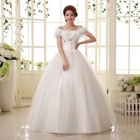 Hot sale free shipping new 2014 New bride sweet princess diamond brief lace strap slit neckline wedding dresses