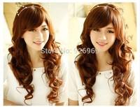 Deep curl synthetic hairpiece 3/4 clip in Half wig Fashion wig ,elastic net blonde wig  60CM 210G 03114
