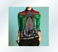 Famous Brand Design Fashion Autumn Blouses 2014 New Woman Silk Print Plus Size Long Sleeve Shirts Casual Tops Blusas Green/Blue