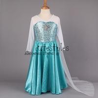 2014 Elsa Dress Custom made Movie Cosplay Dress Summer Anna Girl Dress Frozen Princess Elsa Costume for Children 3-7Y GD40527-6