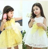 Retail girl birthday dress 2014 children dress Princess dress Big bowknot dress for summer