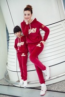 2014 Autumn New Arrival Army Letter  embroidery Fashion Family Clothing Set peluche velvet fabric Mother Daughter Clothing Set