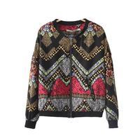 Lady fashion waving geometric prints bomber jackets women standing collar zipper fly coats 332422