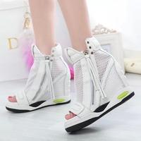 Peep Toe White Wedge Sneaker,Air Mesh Sport Sneaker,Genuine leather comfortable Women sneaker