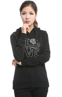 2014 New Women's Vogue Fashion Cotton Sets Embroidery Letters Love Leisure Long Sleeves Hooded Fleece Coat Black/White