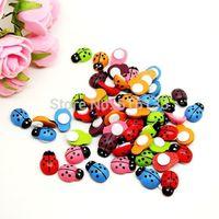 Free Shipping 200pcs/lot 13x9mm Random Mixed Painted Ladybug Self-Adhesive Wood Cabochon Beads Craft Scrapbooking Ornament