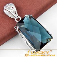 SALE 2014 new arrival Unique London Blue Topaz Silver Pendant For Men's Fashion Party Jewellry Pendants