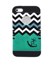 Dustproof Drop Black Silicone Green Chevron with Anchor Hard Shell Hybrid Cover Case For iPhone 5 5S, High Impact  Armor Case